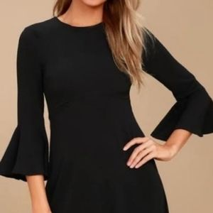 Black quilted woven A line Dress